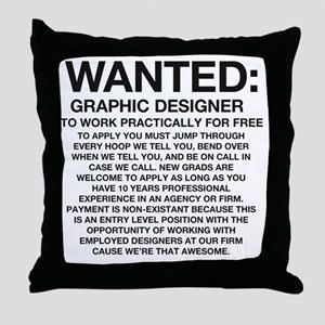 Wanted_Tee Throw Pillow