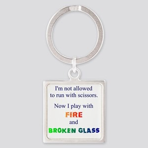 Fire and Broken glass 12 Square Keychain