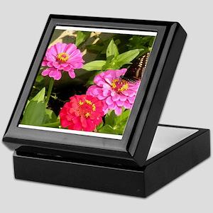 Butterfly on Pink Zinnia Flowers Keepsake Box