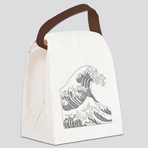 great_wave_grey_10x10 Canvas Lunch Bag