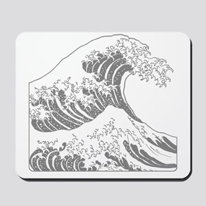 great_wave_grey_10x10 Mousepad