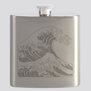 great_wave_grey_10x10 Flask