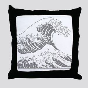 great_wave_grey_10x10 Throw Pillow