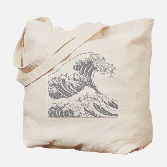 great_wave_grey_10x10 Tote Bag