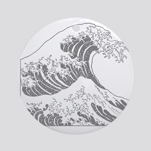 great_wave_grey_10x10 Round Ornament