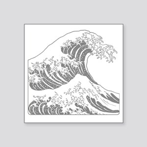"great_wave_grey_10x10 Square Sticker 3"" x 3"""