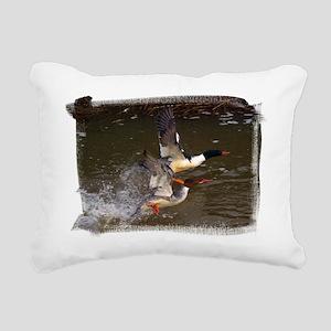 (16) Merganser's Take-of Rectangular Canvas Pillow