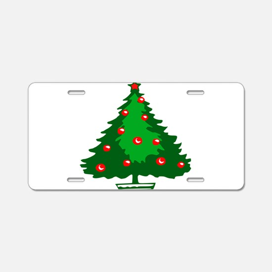 Decorated Christmas Tree Aluminum License Plate