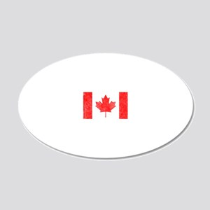 Canada Flag White 20x12 Oval Wall Decal