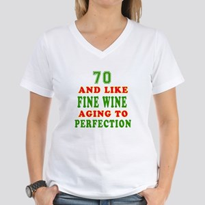Funny 70 And Like Fine Wine Birthday Women's V-Nec