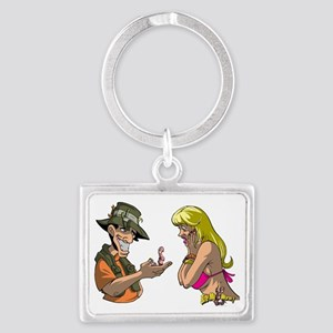 hot_chick_and_worm Landscape Keychain