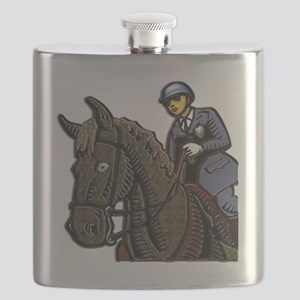 Mounted Policemen Clear Background Square 1 Flask