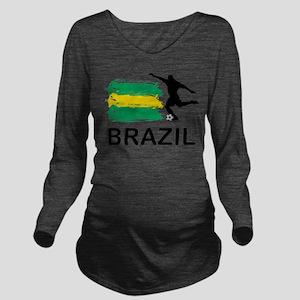 Brazil Football Long Sleeve Maternity T-Shirt
