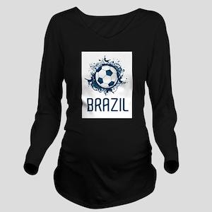 Hip Brazil Football Long Sleeve Maternity T-Shirt
