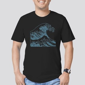 great_wave_blue_10x10 Men's Fitted T-Shirt (dark)