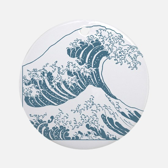 great_wave_blue_10x10 Round Ornament