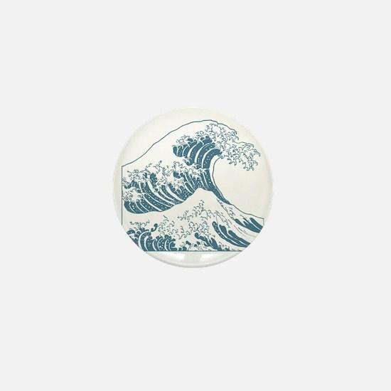 great_wave_blue_10x10 Mini Button