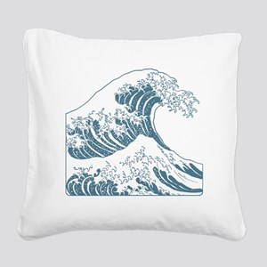 great_wave_blue_10x10 Square Canvas Pillow