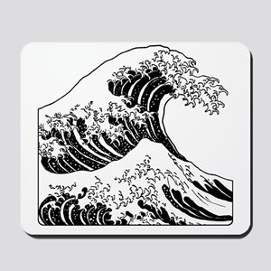 great_wave_black_10x10 Mousepad