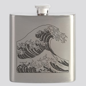 great_wave_black_10x10 Flask