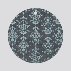 Gorgeous Pastel Blue on Gray Damask Round Ornament