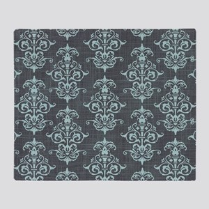 Gorgeous Pastel Blue on Gray Damask Throw Blanket