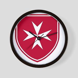 Cross of Malta - Red Shield Wall Clock