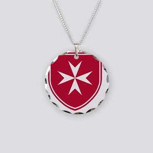 Cross of Malta - Red Shield Necklace Circle Charm
