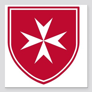 "Cross of Malta - Red Shi Square Car Magnet 3"" x 3"""
