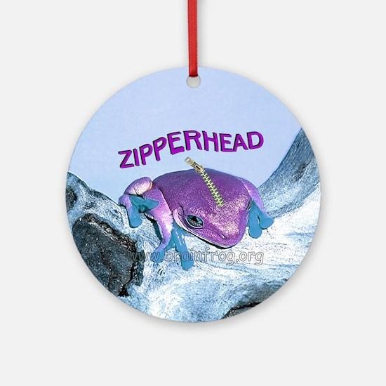 FrogOnLogZipperheadPurple Round Ornament