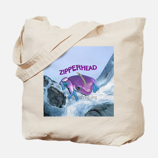 FrogOnLogZipperheadPurple Tote Bag