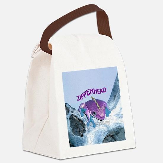 FrogOnLogZipperheadPurple Canvas Lunch Bag