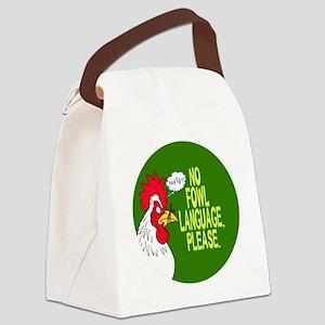 Fowl Language Button Canvas Lunch Bag