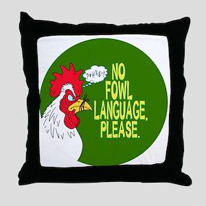 Fowl Language Button Throw Pillow