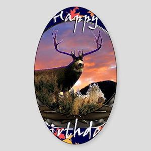 Trophy buck birthday Sticker (Oval)