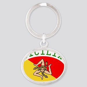 sicilia-flag-white-outline Oval Keychain