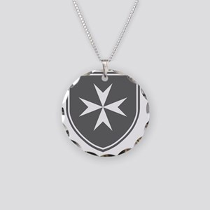 Cross of Malta - Grey Shield Necklace Circle Charm