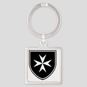 Cross of Malta - Black Shield Square Keychain