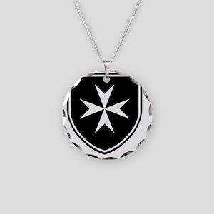 Cross of Malta - Black Shiel Necklace Circle Charm
