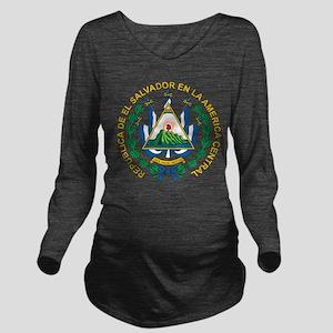 El Salvador Coat Of Arms Long Sleeve Maternity T-S