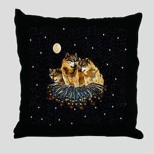 Sky Wolves Throw Pillow