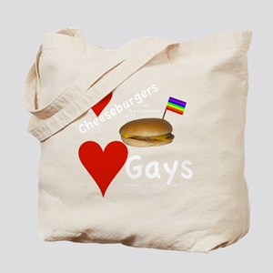 LoveCheeseburgersNGays-W Tote Bag