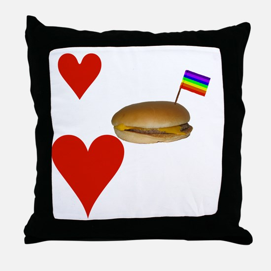 LoveCheeseburgersNGays-W Throw Pillow
