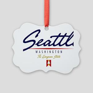 Seattle Script W Picture Ornament