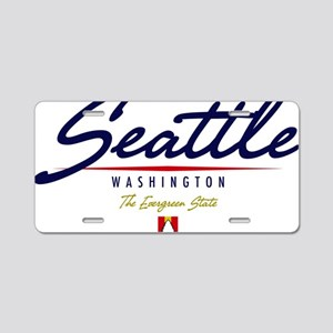Seattle Script W Aluminum License Plate