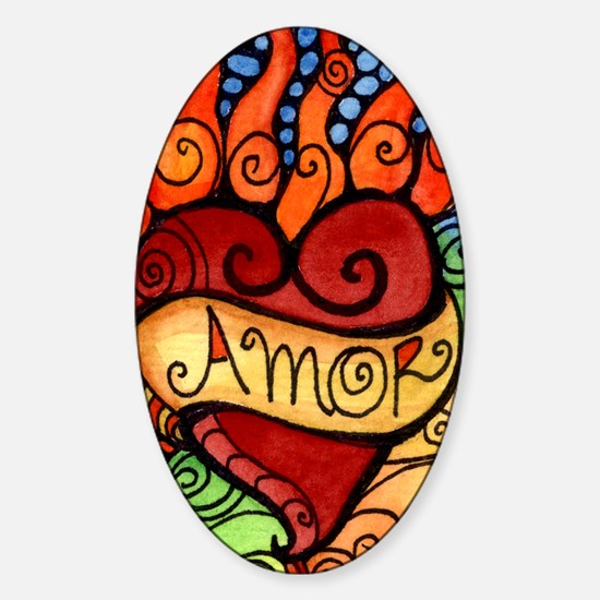 Flaming Milagro Heart Sticker (Oval)