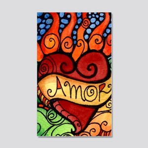 Flaming Milagro Heart 35x21 Wall Decal