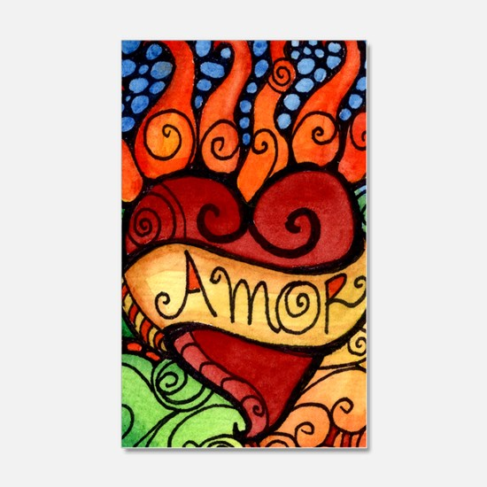 Flaming Milagro Heart Wall Decal