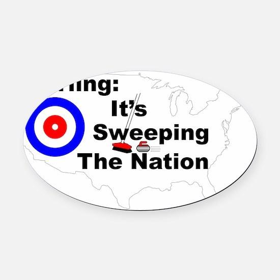 Curlingsweepingnation Oval Car Magnet