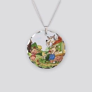 three-little-pigs Necklace Circle Charm